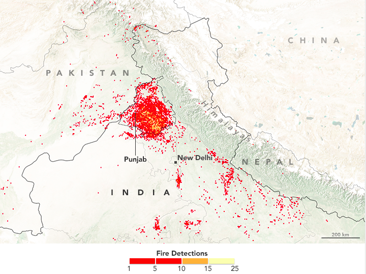 Crop Burning in India, Pakistan